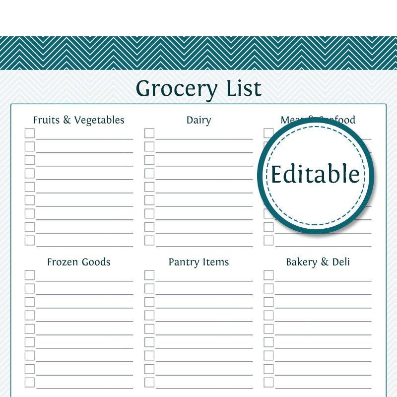 sample grocery shopping list