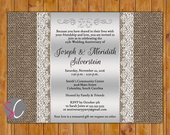 25th Wedding Anniversary Invite Burlap Lace 25 Years Silver Anniversary Invitation Dinner Party Printable 5x7 JPG Digital (382)