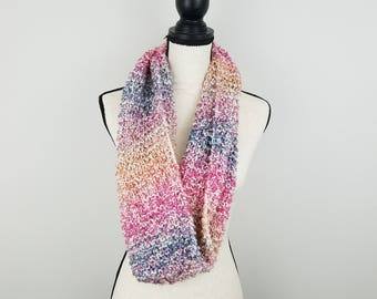 Hand Knit Striped Infinity Scarf