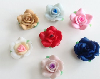 Polymer Rose Beads, Clay Flower Charms, Polymer Clay Beads, Clay Flower Beads, Small Rose Beads, Polymer Rose Beads, Rose Charms, Roses