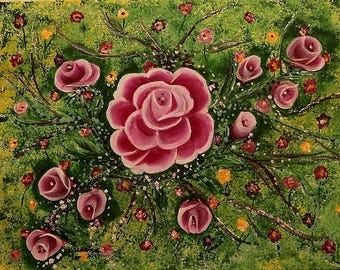 14x18  Spring Roses in Pink