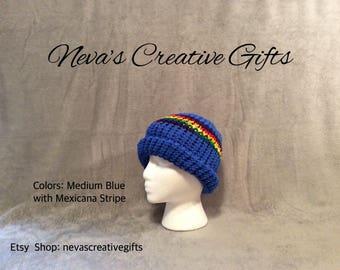 MEDIUM BLUE with a MEXICANA Stripe  -  Cozy Winter Hat