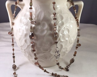 Stunning Unique Magical Andalusite Champagne Pearl and Sterling Silver Opera Length Necklace
