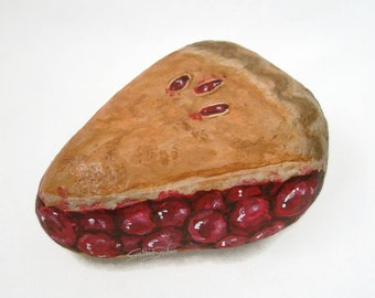 Painted rock, painted stone, cherry pie, food art, dessert painted rock, food rock, piece of pie, slice of pie, cherry pie rock, pie stone