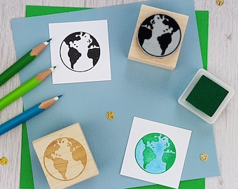 Earth Rubber Stamp  - World Stamp - Globe Stamper - Travel Stamp - Map Stamp - Road Trip - America - Africa - Europe - Moving Gift -