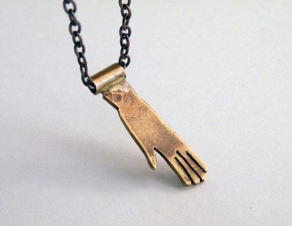 Hand Necklace handmade in brass