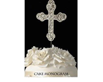 Silver or Gold Elegant Rhinestone Cross Baptism, Christening, Communion Cake Topper