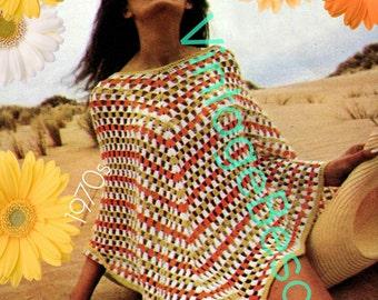 Poncho Crochet Pattern • INSTANT DOWNlOAD • PdF Pattern • 1970s Vintage Crochet Pattern • Summer Beach Cover Up • Crochet Pattern