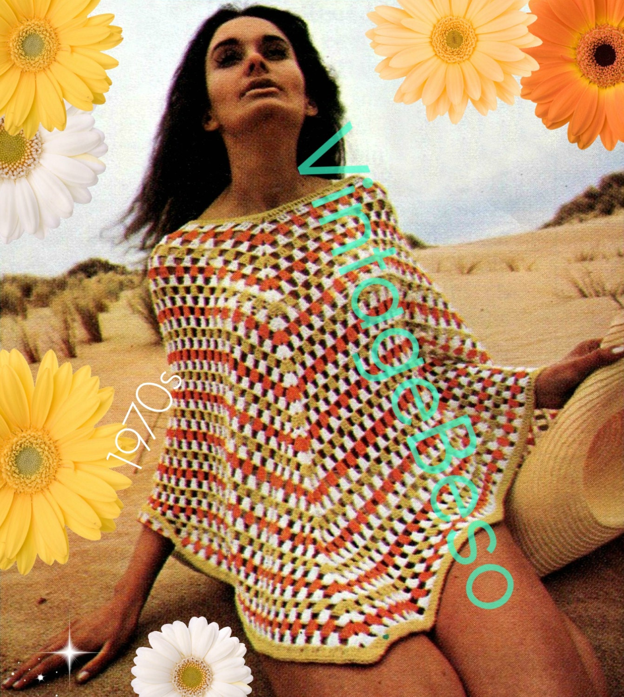 Poncho Crochet Pattern • INSTANT DOWNlOAD • PdF Pattern • 1970s ...