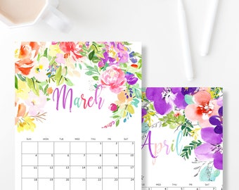 Calendar Printable 2018, Wall Calendar, Letter Size Calendar, Handlettering, Desk Calendar, Printable Calendar