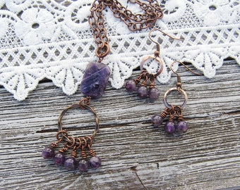 Healer .:. Vintage Copper and Natural Amethyst Crystal necklace & earrings set -- Bohemian jewelry, boho style, boho chic, healing stones