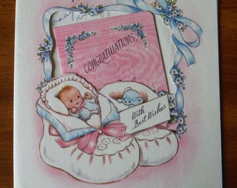 Adorable Vintage New Baby Card  - Vintage 1950's New Baby Congratulations Card - '50's New Parents New Baby Ephemera Card