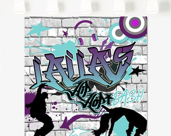 Hip Hop Dance Party backdrop, 90's Hip Hop Personalized Backdrop,  Graffiti Wall Themed Backdrop, Hip hop birthday backdrop, 90's birthday