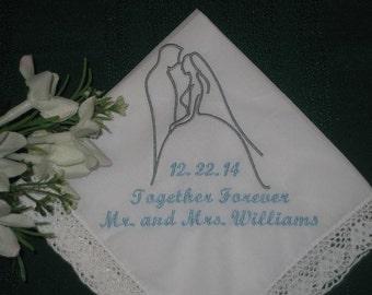 Wedding Handkerchief - Wedding Silhouette Handkerchief - Custom Handkerchief - Custom Wedding Hanky - Wedding Hankie - Wedding Gift - 158S