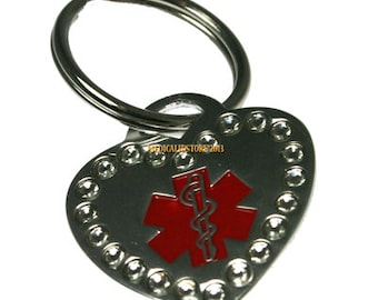 Crystal Heart Medical Id Key Chain Bag Tag Medical Id