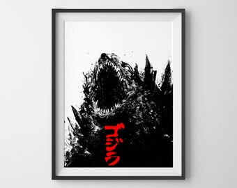 Godzilla poster, acrylic painting, art print, black and white art, movie poster, godzilla art, black and red, gojira text art, monster A3