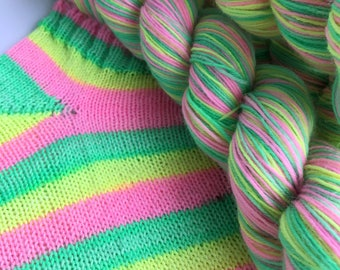 Hand dyed self striping sock yarn - Gelato