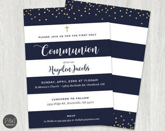 First Communion Invitation | Boy or Girl Communion Invitations | Gold, Pink and Navy|  DIY | Printable 5x7