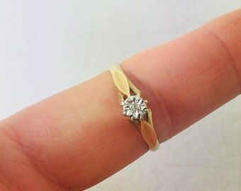 Vintage 1970's 9ct yellow gold illusion set diamond solitaire ring
