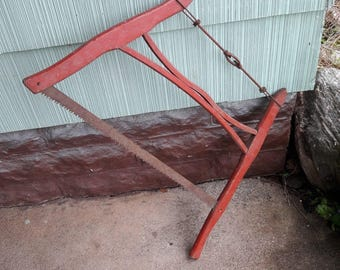Antique Primitive Wood Buck Saw From Old-Time Farm Auction- Primitive Tool #1 e