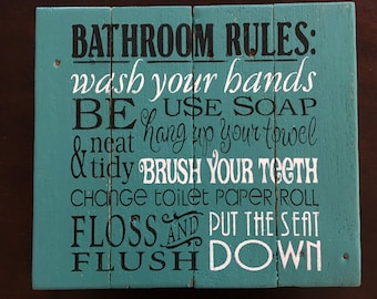 Bathroom rules sign, bathroom decor, bathroom sign, home decor, pallet signs, wood signs