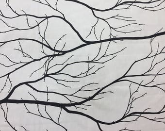 Cotton fabric white with black branches ,bare branches, white with black