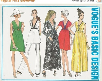 ON SALE Vintage 1970s High Waisted Tunic Dress Gown Deep V Neckline Tunic Pants Top 70s Sewing Pattern Vogue Basic Design 2297 Size 12 Bust