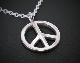 Peace sign pendant etsy peace sign necklace pendant in sterling silver peace sign pendant sterling silver peace sign mozeypictures Choice Image