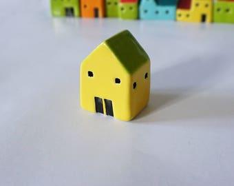 Small Handmade Ceramic Yellow House