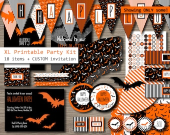 "XL Halloween Party Package ""Orange Bats"" Halloween Party Kit (18 items + a personalized invitation) DIY Party Printable - Instant Download"