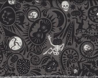Midnight Muertos I Spy Cat Skulls Zombie Halloween Fabric Alexander Henry BTFQ By the Fat Quarter