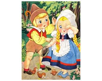 Vintage Childrens Book Illustration Hansel and Gretal JPG and PNG 600dpi / diy / Paper Craft / Scrapbooking