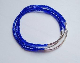 Set of 3 Sparkly Blue bracelets,seed bead bracelet,royal blue bracelet,stretchy bracelet,noodle,minimalist,gift,stacking bracelet,bridesmaid