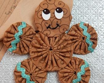 Gingerbread Yo Yo  Ornament with Metallic Turquoise Ric Rac - Gingerbread Cookie GB55
