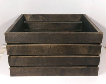 Large Rustic Vintage Stained Wooden Crate Box Handmade Reclaimed Jacobean Stain
