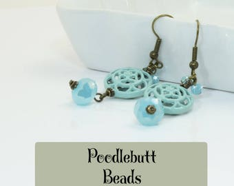 Turquoise Earrings Blue Earrings Wedding Earrings Lacy Earrings Turquoise Blue Earrings