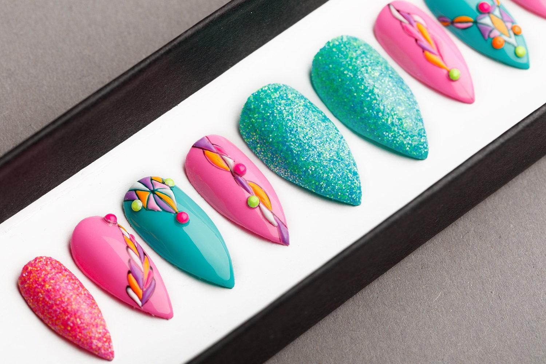 Pink And Turquoise Press on Nails Fake Nails False Nails