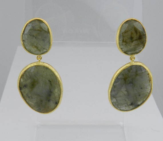SALE 18K Yellow Gold over Sterling Silver Labradorite Dangle Drop Large Earrings The Stone of Magic