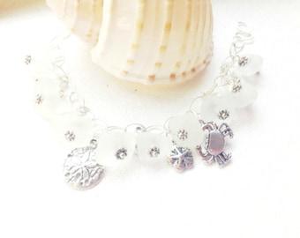 Sea Glass Charm Bracelet, Sea Glass Bracelet, Sterling Bracelet, Sea Glass Jewelry, Beach Bracelet, Gift for Her, Seaglass, Sea Glass