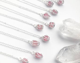 Raw Tourmaline Crystal Pendant Necklace with Sterling Silver Hand Sculpted Wire Cage - Wire Wrapped Crystal Jewelry - Pink Tourmaline