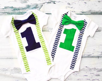 Twin Boys Baby Chevron Cake Smash Outfit navy zig zag Green Chevron Matching Twins Gift for Twins one year outfit twin's first birthday