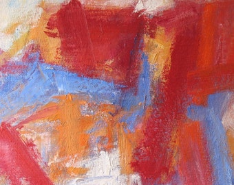 Red House GICLEE ART PRINT 11 x 17 abstract red orange cobalt blue white