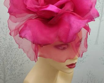 Ava-- Fuschia pink  silk organza 12 inch flower  fascinator