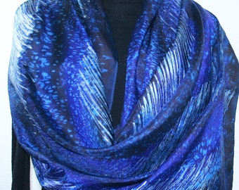Silk Scarf Blue Silver Hand Painted BLUE THUNDER in 3 SIZES, Silk Scarves Colorado. Handmade Birthday Gift, Christmas Gift, Anniversary Gift