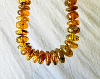Large Graduated Amber Bead Necklace. Chiapas Amber. Hand Hewn. Stunning!