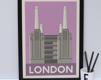 Battersea Power Station print    -  London artwork - London print - London Architecture - London design - Statement poster
