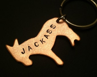 Brother Gift, Mens Gift,  Donkey Keychain, JACKASS, Animal Keychain, Animal Charm,Ass Charm Keychain, Mule, Asshole,Stamped Copper,Metalwork