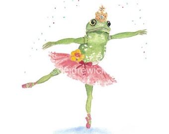 Ballerina Frog Watercolor Print - Frog Illustration, Watercolour Painting, Ballet Art, Fine Art Print, Nursery Art