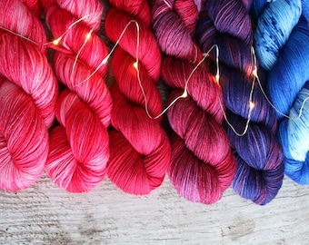 Hand dyed yarn pick your base!  Merino nylon blend superwash, Glitter, bamboo Love Is