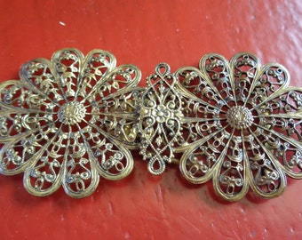 Antique Filigree Victorian Belt Buckle from Czechoslovakia